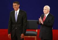 John McCain and Barak Obama debate