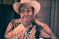 Cleavon Little taking himself hostage in Blazing Saddles